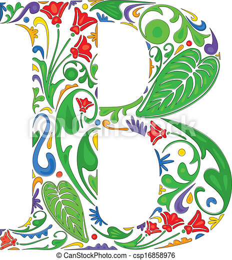 d8200092ab6b Floral b. Colorful floral initial capital letter b.