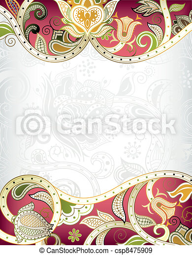 Abstraer el marco floral rojo backgroun - csp8475909