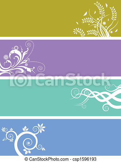Floral background banners - csp1596193