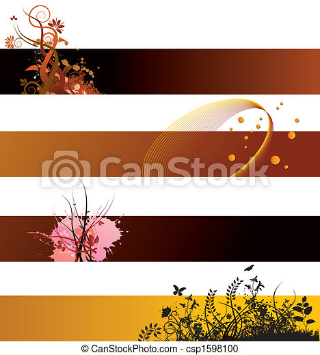 Floral background banners - csp1598100