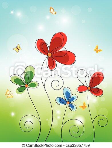Floral background design  - csp33657759