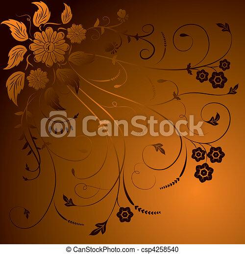 Floral background, elements for design, vector - csp4258540