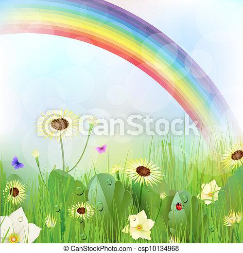 Floral background, rainbow - csp10134968