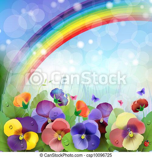Floral background, rainbow - csp10096725