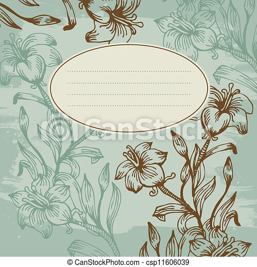 Floral background with banner - csp11606039