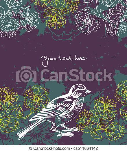 Floral background with bird - csp11864142