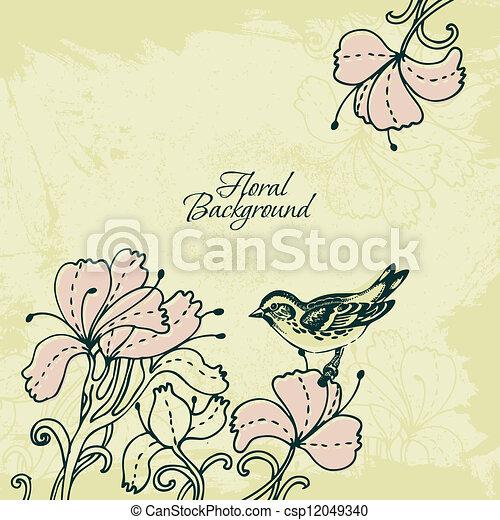 Floral background with bird - csp12049340