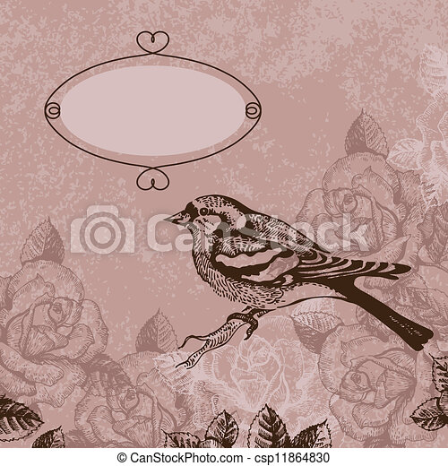 Floral background with bird - csp11864830
