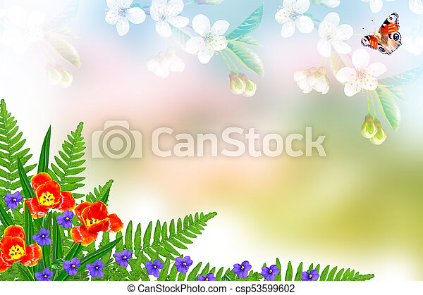 Floral Background With Bright Spring Flowers