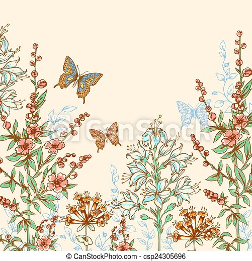 Floral background with butterflies - csp24305696