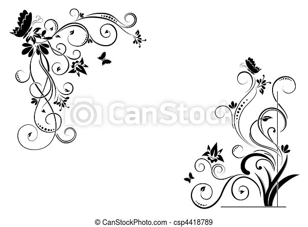 floral background with butterflies - csp4418789