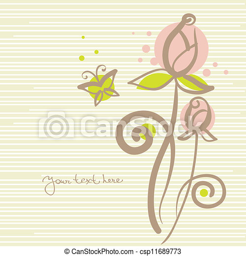 Floral background with butterfly - csp11689773