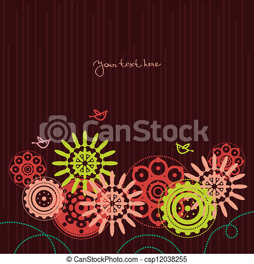 Floral background with cartoon birds - csp12038255