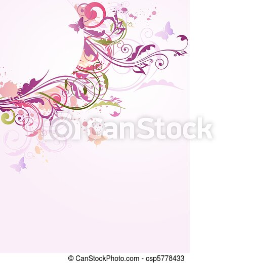 floral background with ornament - csp5778433