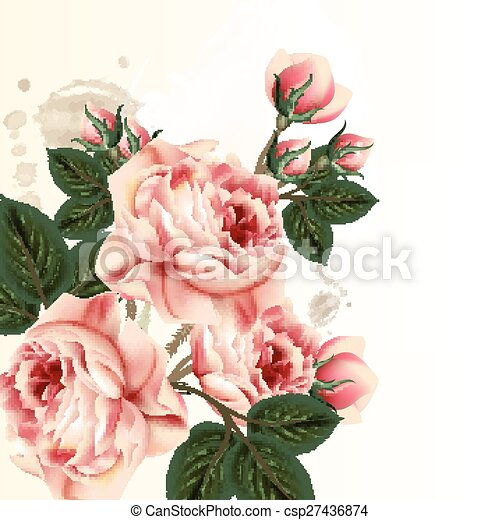 Floral Background With Pink Pastel Roses In Vintage Styleeps