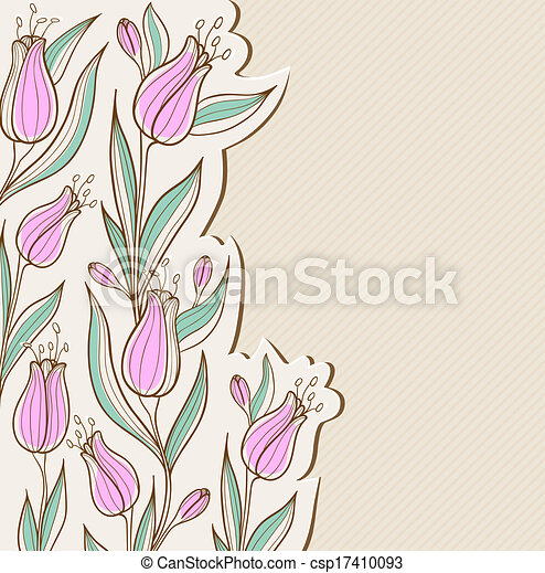 Floral background with pink tulips - csp17410093