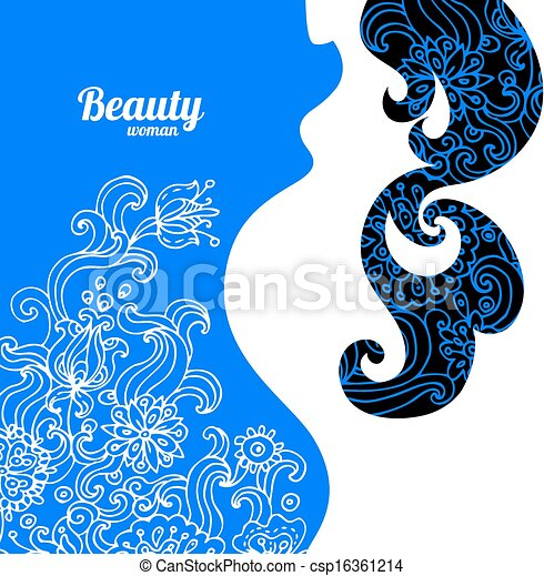 Floral background with pregnant woman silhouette - csp16361214