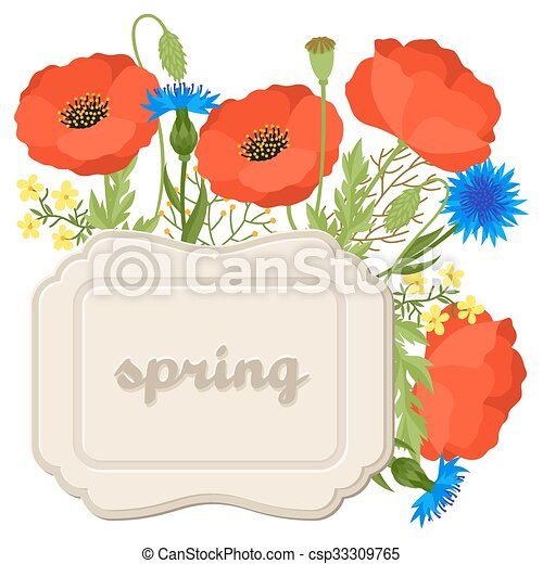 floral background with pretty spring flowers template for
