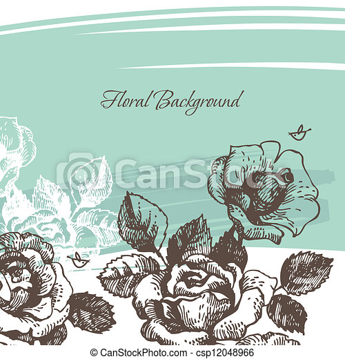 Floral background with roses - csp12048966