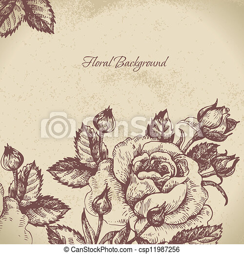 Floral background with roses - csp11987256