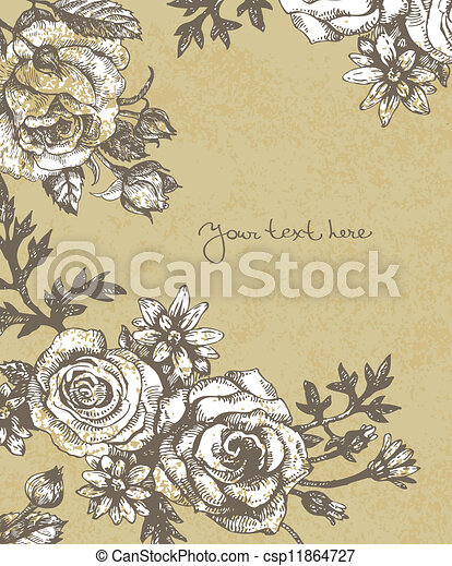 Floral background with roses - csp11864727