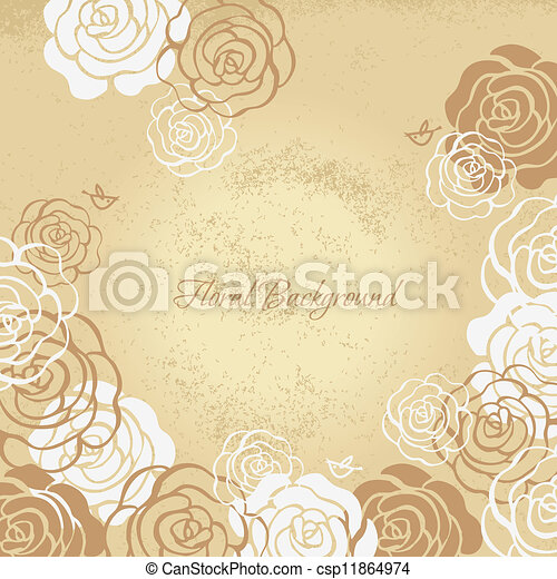 Floral background with roses - csp11864974