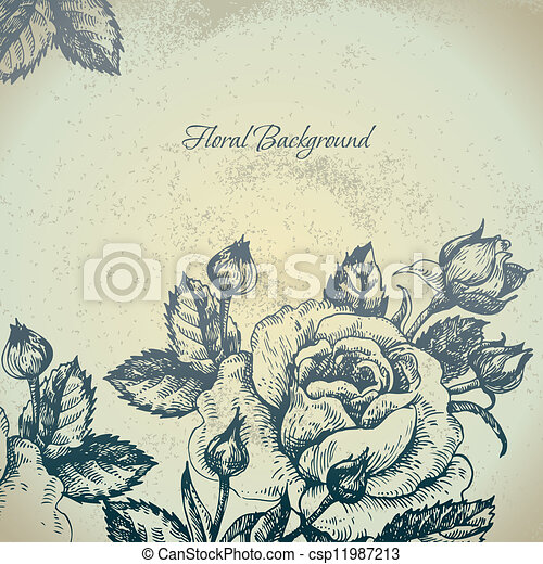 Floral background with roses - csp11987213