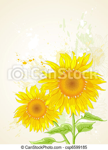 floral background with sunflower - csp6599185