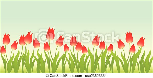Floral background with tulips - csp23623354