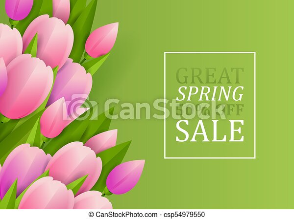 Floral background with tulips - csp54979550