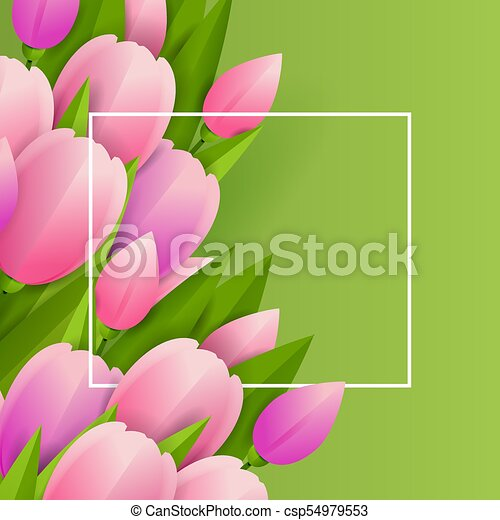 Floral background with tulips - csp54979553