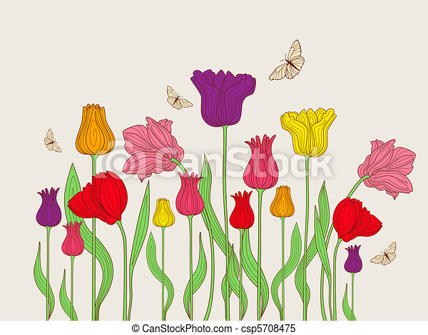 floral background with tulips - csp5708475