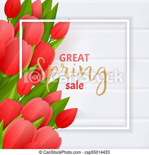 Floral background with tulips - csp55014433
