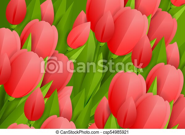 Floral background with tulips - csp54985921