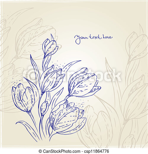 Floral background with tulips - csp11864776