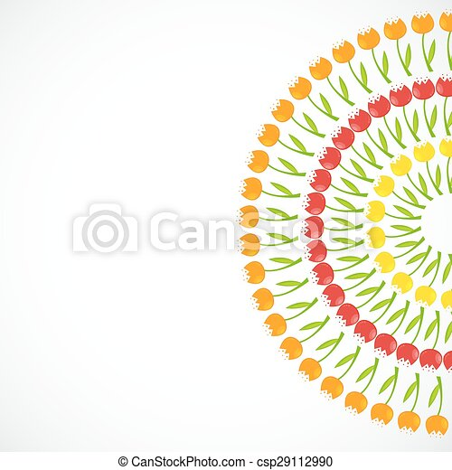 Floral Background with Tulips Vector Illustration - csp29112990