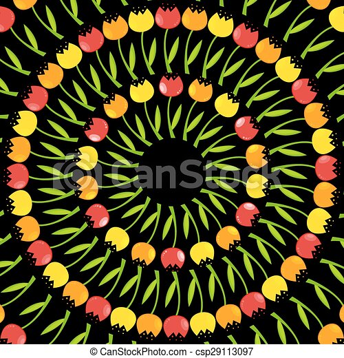 Floral Background with Tulips Vector Illustration - csp29113097