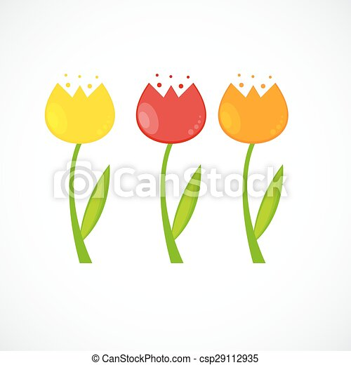 Floral Background with Tulips Vector Illustration - csp29112935