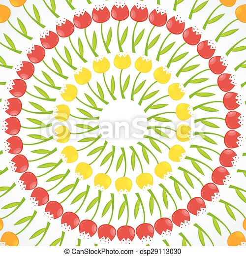 Floral Background with Tulips Vector Illustration - csp29113030
