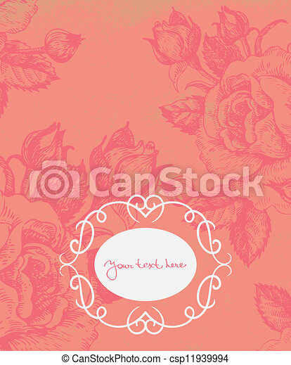 Floral background with vintage frame - csp11939994