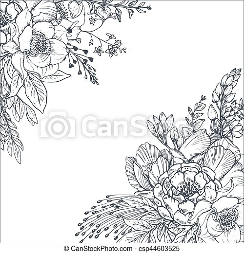 floral backgrounds with hand drawn flowers and plants csp44603525 - Floral Backgrounds