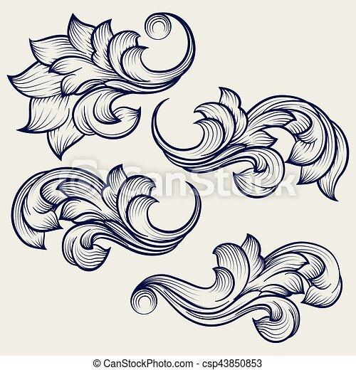 Floral baroque engraving elements - csp43850853