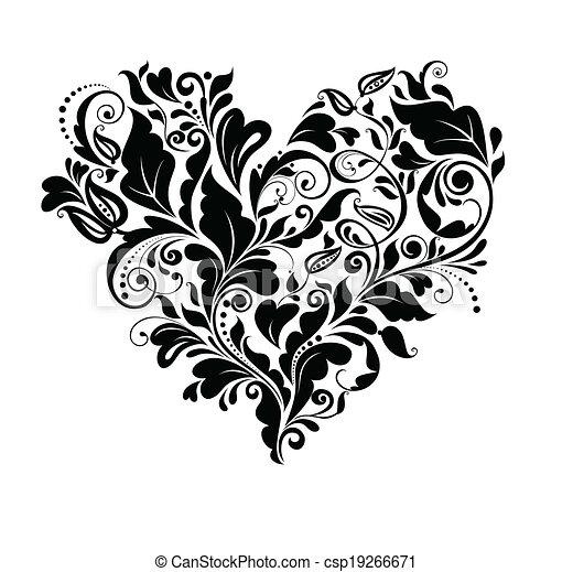 Floral black heart - csp19266671