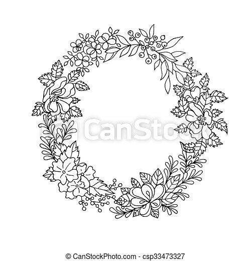 Couronne De Fleurs Dessin Noir Et Blanc
