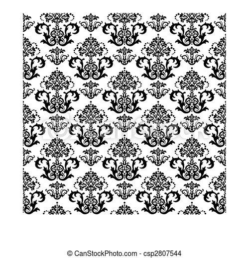 floral, blanc, papier peint, noir, seamless - csp2807544