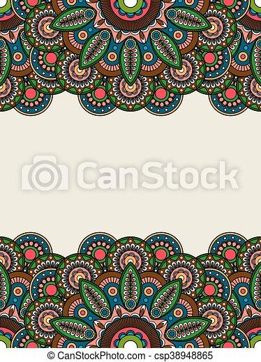 Floral, boho, coloreado, fronteras, hippie. Hippie, ilustración ...