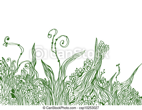 Floral border graphic background with grass - csp10253027