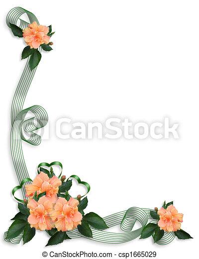 Floral Border invitation Hibiscus - csp1665029