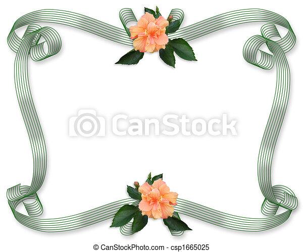 Floral Border invitation Hibiscus - csp1665025