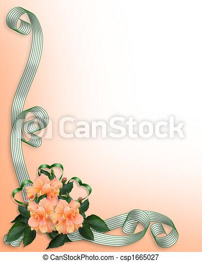 Floral Border invitation Hibiscus - csp1665027